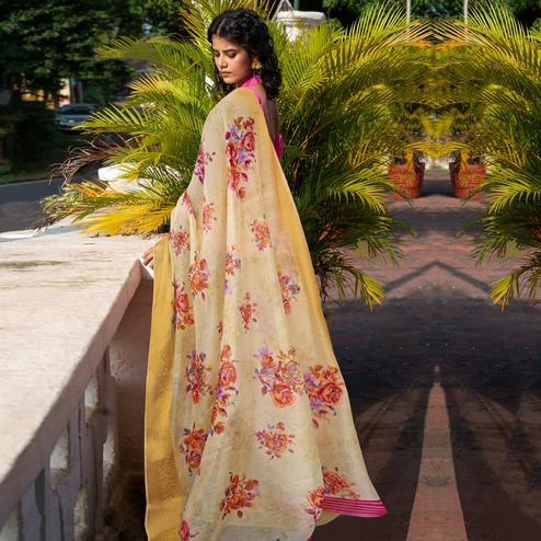 Ideal Light Yellow Colored Festive Wear Woven Linen Saree