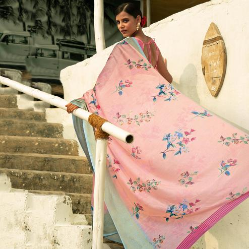 Imposing Light Pink Colored Festive Wear Woven Linen Saree