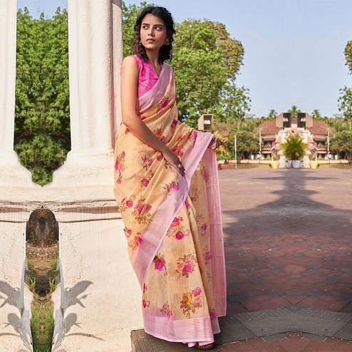 Impressive Light Yellow Colored Partywear Floral Printed Fancy Linen Saree