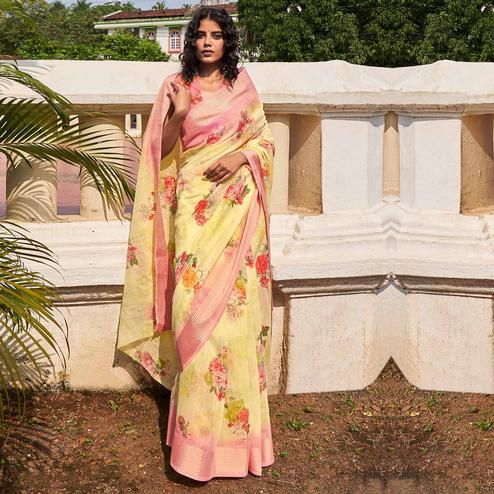 Mesmerising Yellow Colored Partywear Floral Printed Fancy Linen Saree