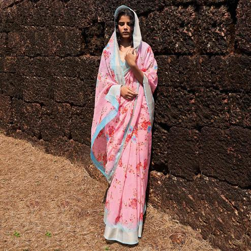 Ethnic Pink Colored Partywear Floral Printed Fancy Linen Saree