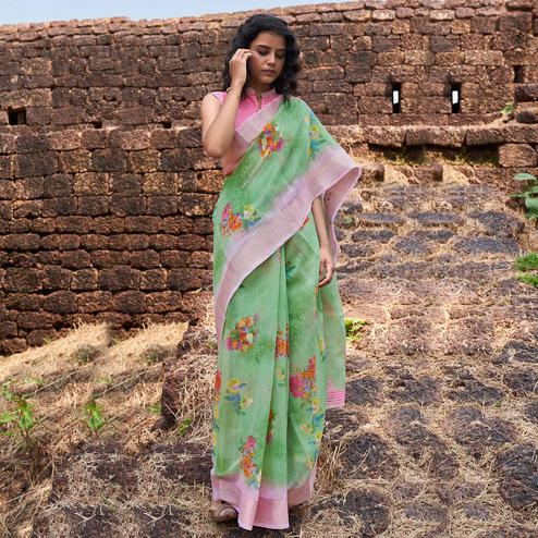 Ravishing Green Colored Partywear Floral Printed Fancy Linen Saree
