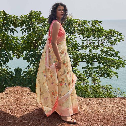 Staring Light Yellow Colored Partywear Floral Printed Fancy Linen Saree