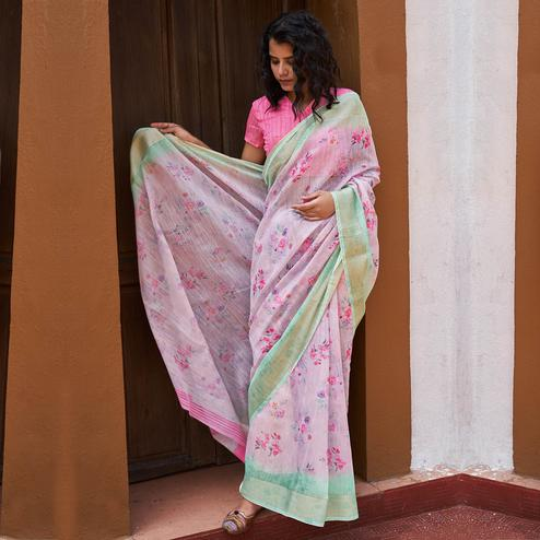 Surpassing Light Pink Colored Partywear Floral Printed Fancy Linen Saree