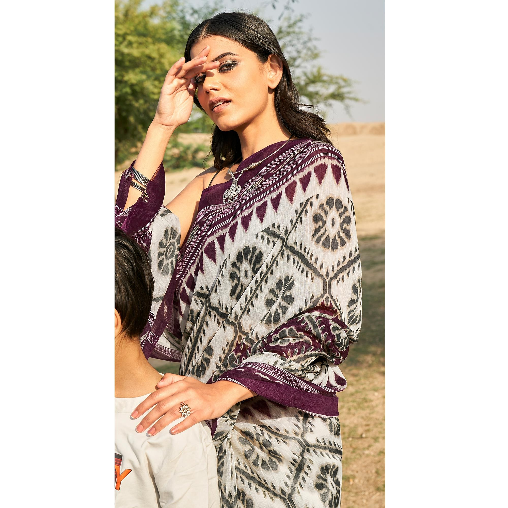 Desirable White - Wine Colored Casual Wear Printed Fancy Linen Saree
