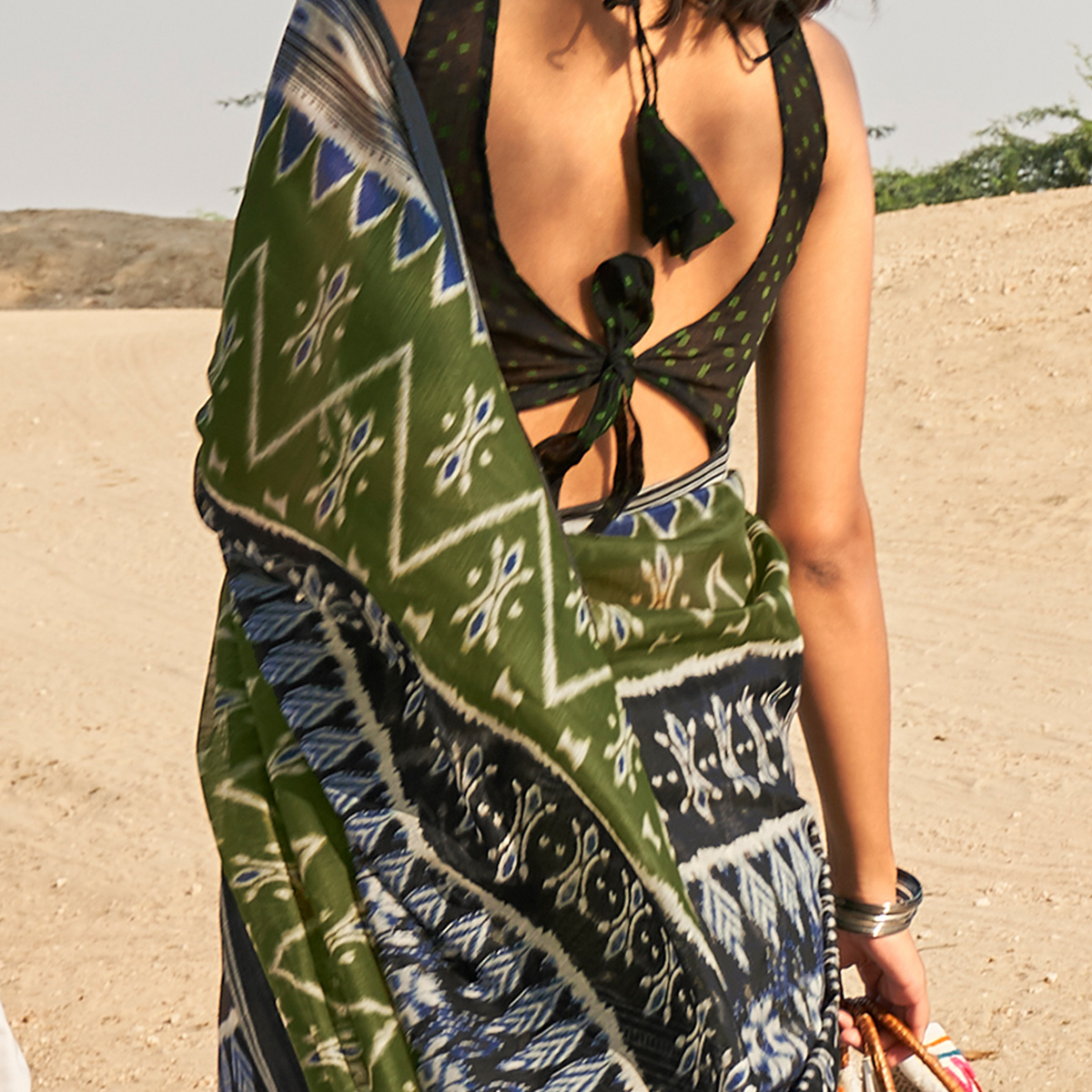 Sophisticated Green Colored Casual Wear Printed Fancy Linen Saree