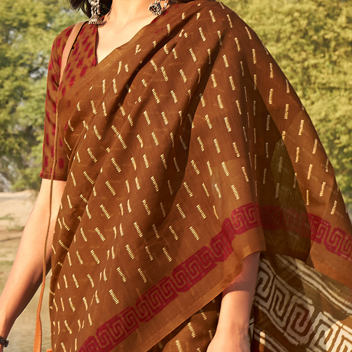 Pleasant Brown Colored Casual Wear Printed Fancy Linen Saree