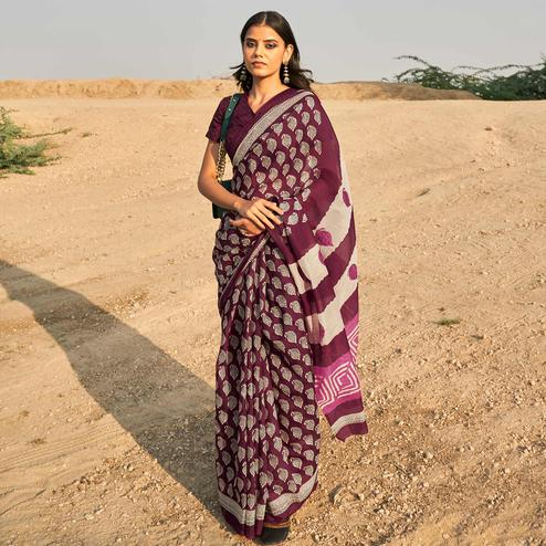 Opulent Wine Colored Casual Wear Printed Fancy Linen Saree