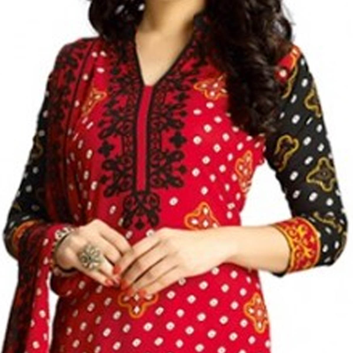 Red Poly Cotton Unstitched Dress Material