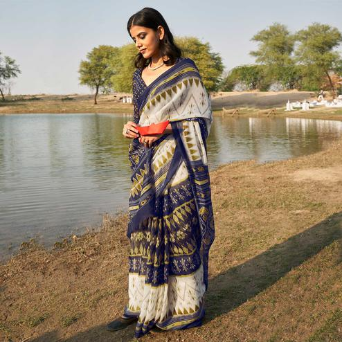 Glowing White - Navy Blue Colored Casual Wear Printed Fancy Linen Saree