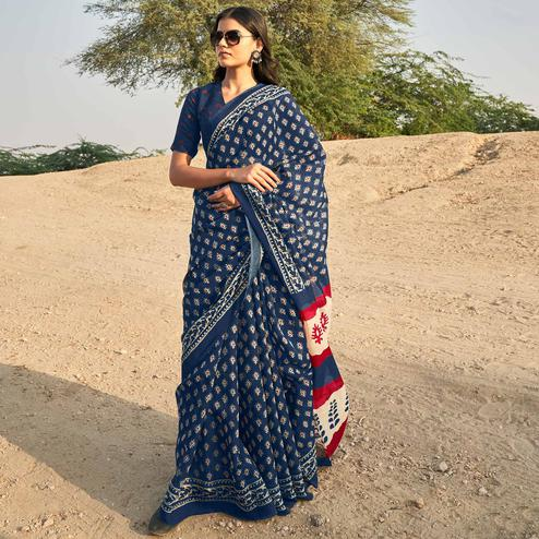Exceptional Navy Blue Colored Casual Wear Printed Fancy Linen Saree