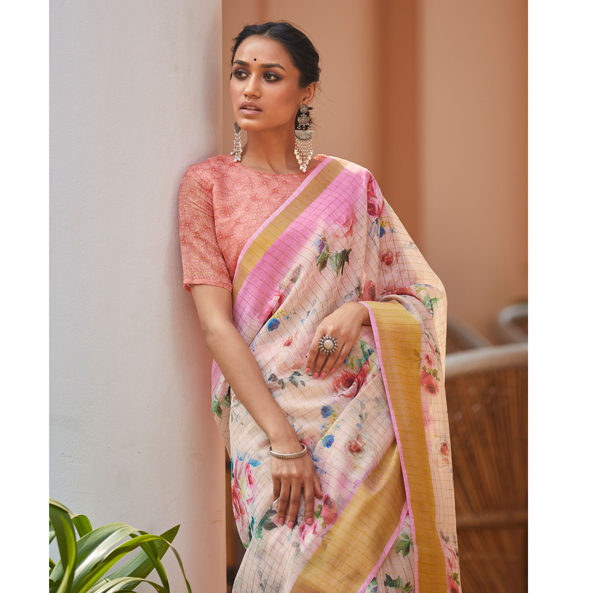 Gleaming Light Peach Colored Casual Wear Digital Printed Fancy Linen Saree