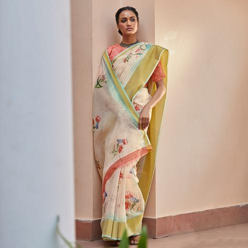 Mesmeric Light Peach Colored Casual Wear Digital Printed Fancy Linen Saree