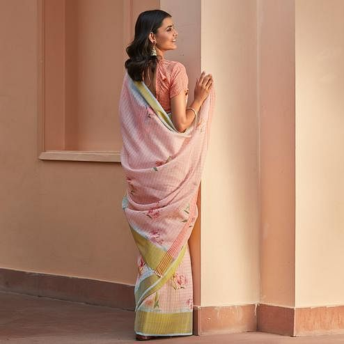 Unique Light Pink Colored Casual Wear Digital Printed Fancy Linen Saree