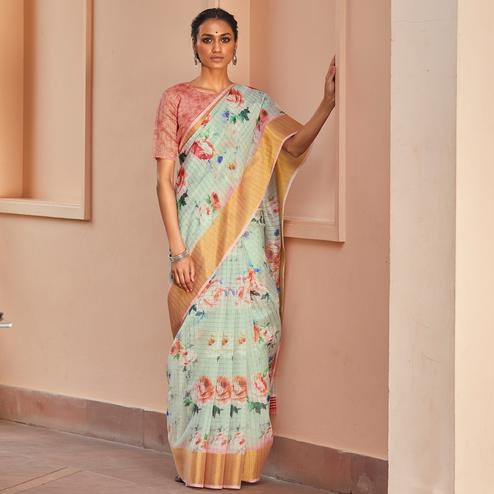 Demanding Light Blue Colored Casual Wear Digital Printed Fancy Linen Saree