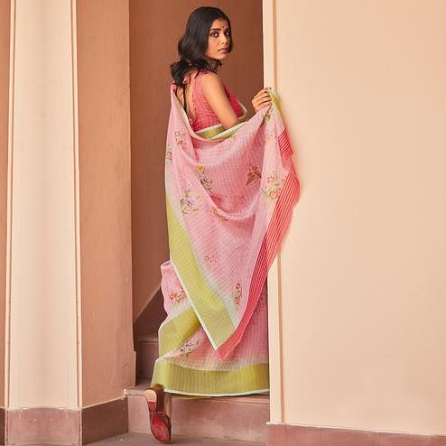 Refreshing Pink Colored Casual Wear Digital Printed Fancy Linen Saree