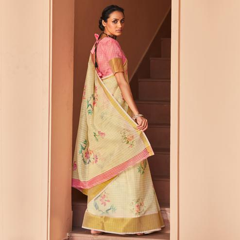 Magnetic Light Yellow Colored Casual Wear Digital Printed Fancy Linen Saree