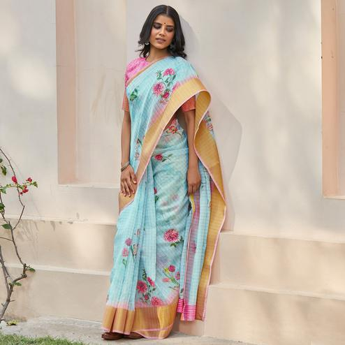 Hypnotic Sky Blue Colored Casual Wear Digital Printed Fancy Linen Saree