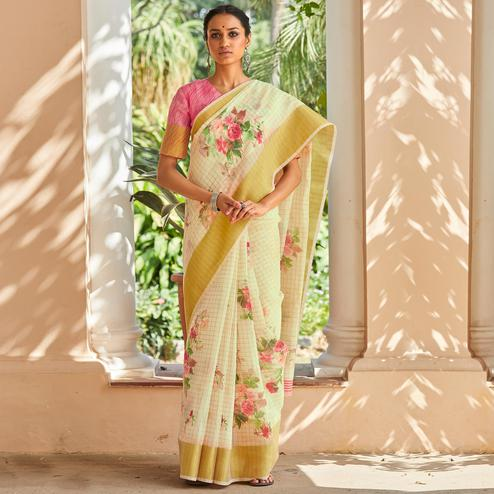 Flattering Light Yellow Colored Casual Wear Digital Printed Fancy Linen Saree