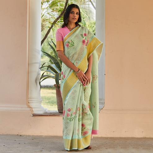 Excellent Green Colored Casual Wear Digital Printed Fancy Linen Saree