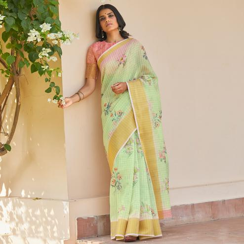 Preferable Light Pista Green Colored Casual Wear Digital Printed Fancy Linen Saree