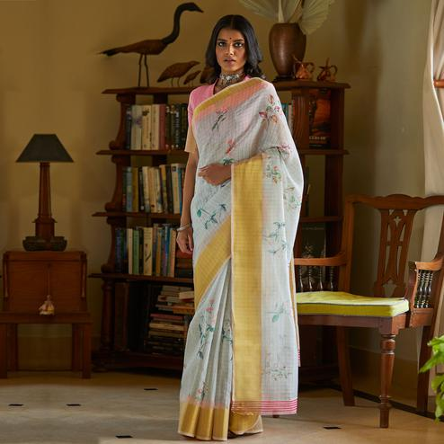 Marvellous White Colored Casual Wear Digital Printed Fancy Linen Saree