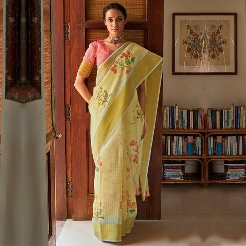 Flamboyant Yellow Colored Casual Wear Digital Printed Fancy Linen Saree