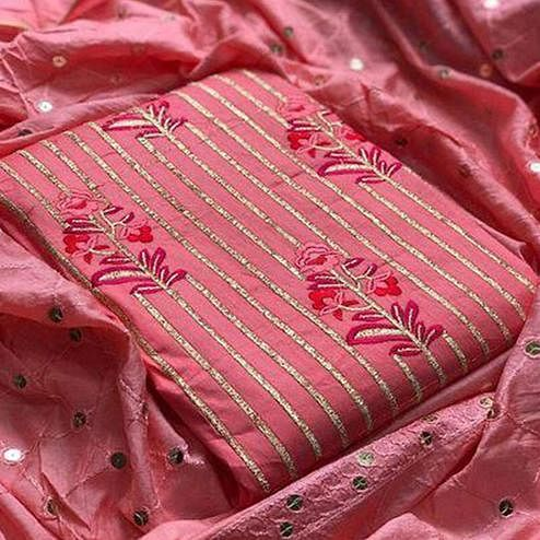 Pretty Peach Colored Partywear Sequence Work Cotton Dress Material