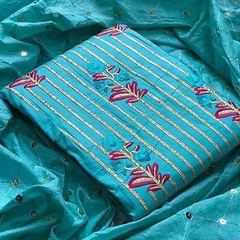 Alluring Sky Blue Colored Partywear Sequence Work Cotton Dress Material