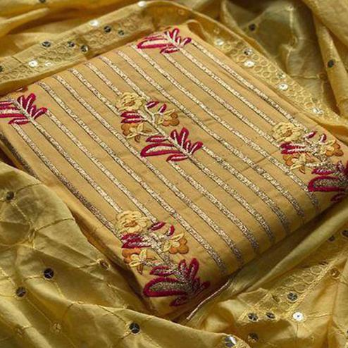 Flaunt Yellow Colored Partywear Sequence Work Cotton Dress Material