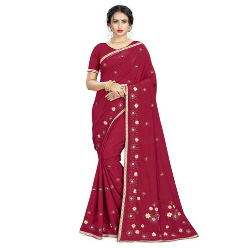 Stunning Maroon Colored Casual Wear Embroidered Crepe Saree