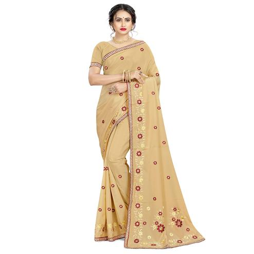Flirty Beige Colored Casual Wear Embroidered Crepe Saree