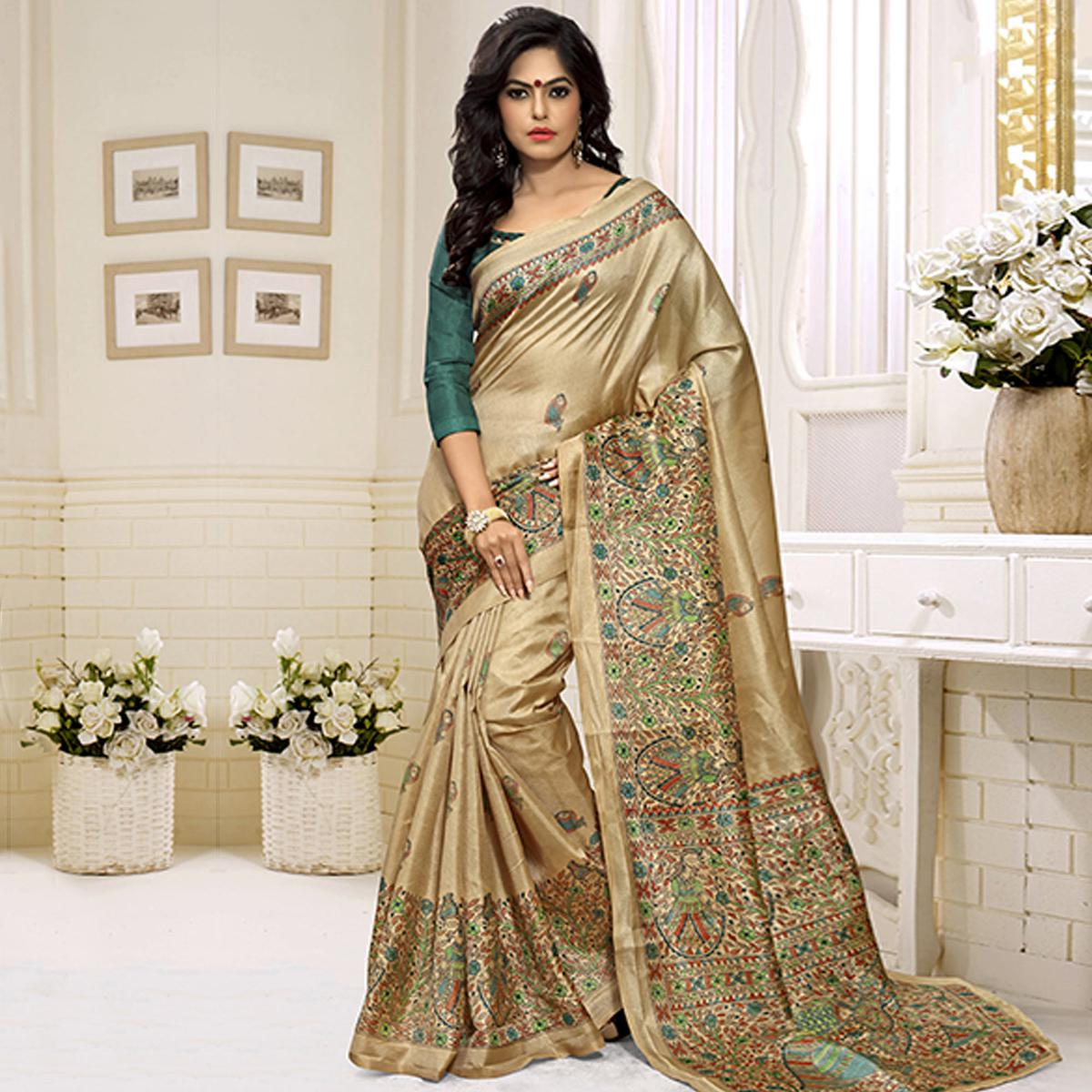 Beige - Green Bhagalpuri Silk Saree