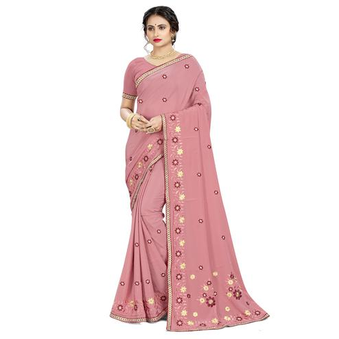 Classy Mauve Colored Casual Wear Embroidered Crepe Saree