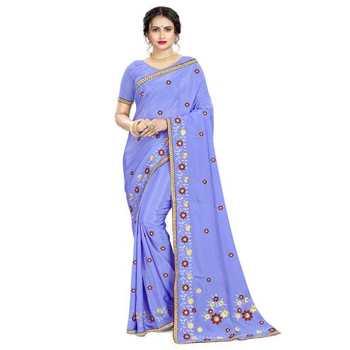 Appealing Blue Colored Casual Wear Embroidered Crepe Saree