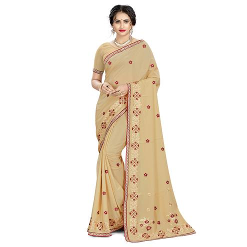 Adorning Beige Colored Casual Wear Embroidered Crepe Saree