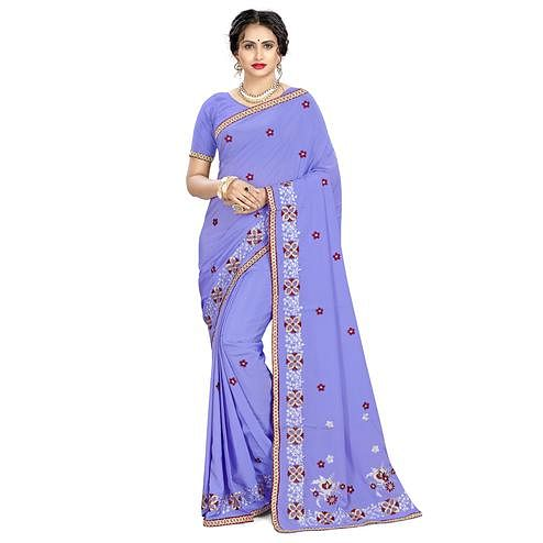 Exclusive Violet Colored Casual Wear Embroidered Crepe Saree