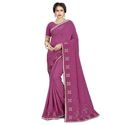 Adorable Wine Colored Casual Wear Embroidered Crepe Saree