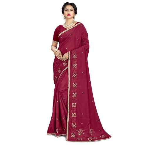 Glorious Maroon Colored Casual Wear Embroidered Crepe Saree