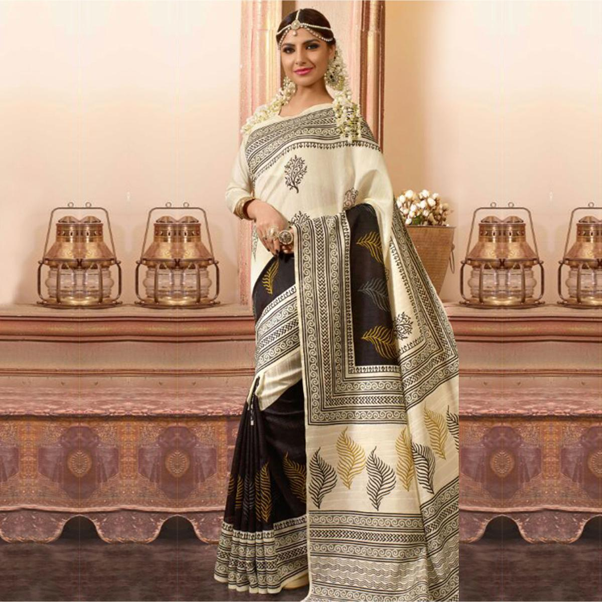 Cream - Black Printed Bhagalpuri Silk Saree
