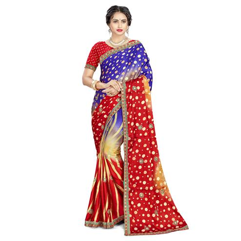 Beautiful Blue - Red Colored Casual Wear Printed Satin Silk Saree