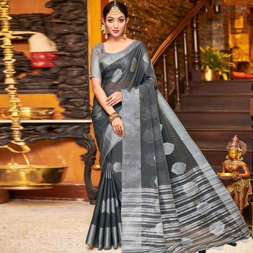 Engrossing Grey Colored Festive Wear Woven Linen Sareee
