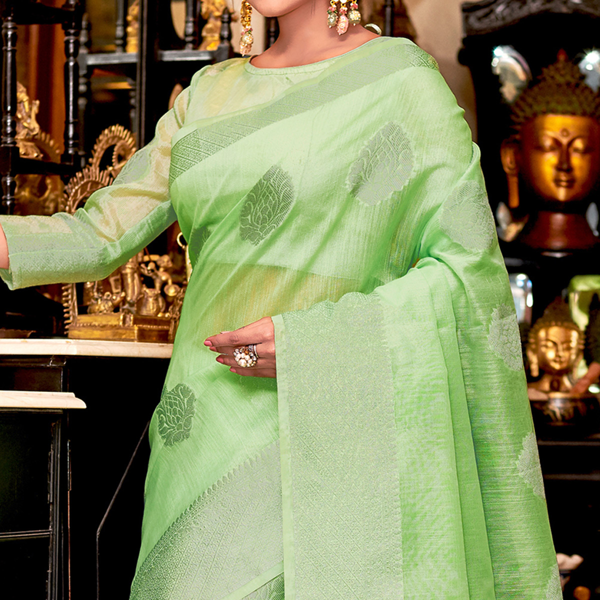 Captivating Green Colored Festive Wear Woven Linen Sareee