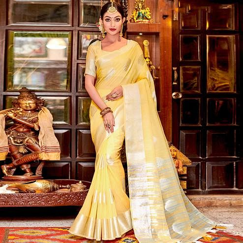 Eye-catching Yellow Colored Festive Wear Woven Linen Sareee