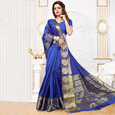 Blue Weaving Work Silk Saree