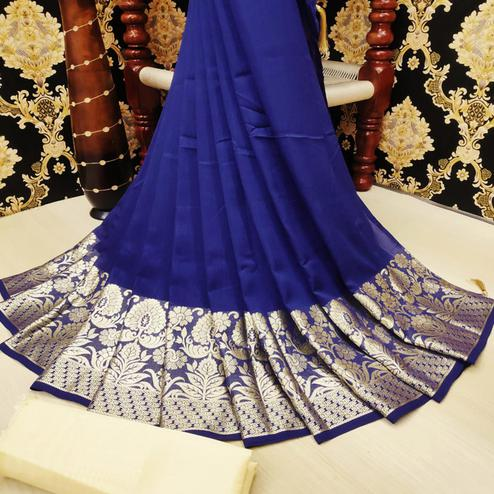 Intricate Navy Blue Colored Festive Wear Woven Vichitra Silk Saree
