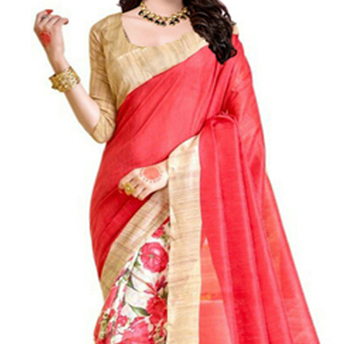 Red - Beige Casual Wear Saree