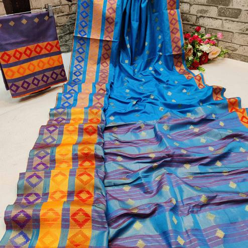 Sophisticated Ferozi Colored Festive Wear Woven Cotton Silk Saree