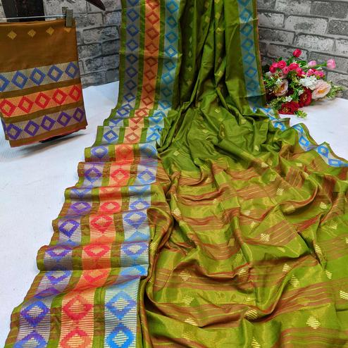 Trendy Parrot Green Colored Festive Wear Woven Cotton Silk Saree