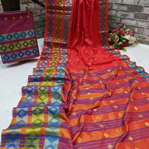 Elegant Red Colored Festive Wear Woven Cotton Silk Saree